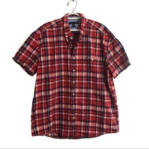 Tommy Hilfiger cotton plaid short sleeve shirt.